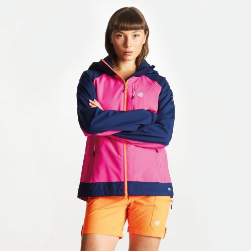 Women's Veritas Lightweight Waterproof Jacket With Detachable Hood - Cyber Pink Clear Water Blue